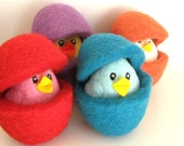 Easter Chick in an Egg - Needle Felted Wool Toy - Waldorf - Bird - Nest Egg - Choose your colors
