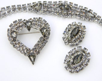 SALE - Sparkling Smoky Cabochon and Rhinestone Bracelet Brooch Earrings Set