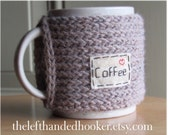 Knitted coffee mug cozy cup cozy with hand embroidered patch in mushroom taupe