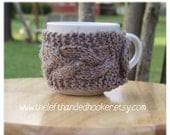 Knitted cable knit cozy mug cozy cup cozy in mushroom taupe with wooden coconut button