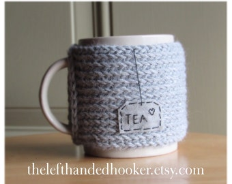 Knitted tea mug cozy cup cozy with hand embroidered patch in heather grey