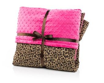 Baby Girl Crib Blanket, Baby Girl Crib Bedding, Floor Play Mat, Cheetah, Jaguar, Hot Pink Minky