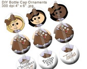 Editable Brown Inspired Scout Christmas Ornament Bottle Cap Image Collage Digital Set 1 Inch Circle 4x6 - Instant Download - BC300