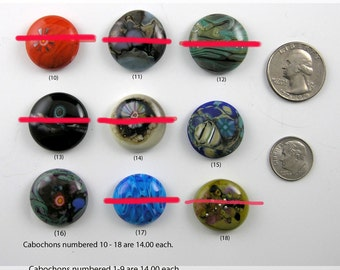 Glass Mini Cabochons #10-18 .... (1) glass CABOCHON handmade organic lampwork jewelry designer cabs SRA
