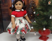 Candy Canes & Christmas Bells - vintage style dress for American Girl