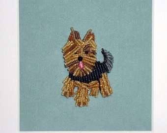 Beaded YORKSHIRE TERRIER Mini Pet Portrait Personalized Framed Dog Art- 8x8 shadowbox (Made to Order)