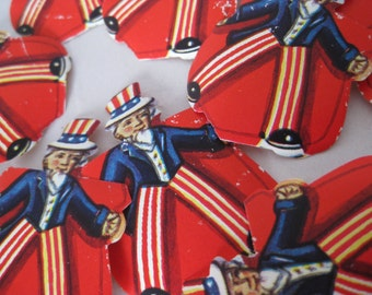 12 Uncle Sam American Decal Sticker Seals Vintage Red White Blue USA