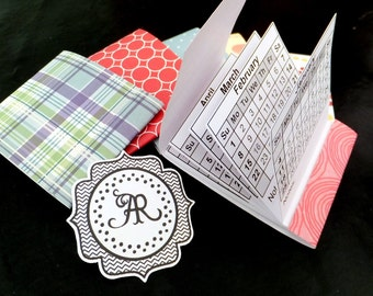 Calendar, 2016 Matchbook Calendars, VARIETY PACK Set of 6 w Perforations, Promotion, Wedding, Party Favor, Stocking Stuffers, Teacher Gift