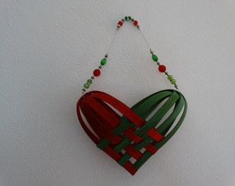 Hand Woven Basket in traditional holiday Red and Green with beaded handle. Heart Basket. Gift basket.  Hand woven baskets in fun colors.