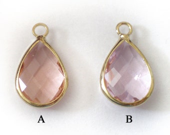 18x11mm Faceted Light Peach or Pearl Pink Glass small teardrop - 1 piece
