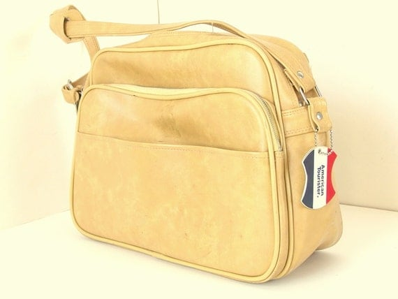 Vintage 1970's Gold Soft Sided Carry On Train Case Luggage