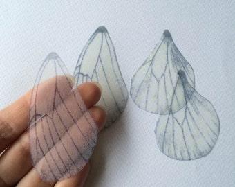 Light - Handmade Pale Blue Silk Organza Butterfly Wings - 4 Pieces