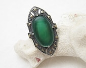 Long Sterling Marcasite Ring Chrysophrase Antique Deco Jewelry R6012