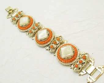 Wide Vintage Bracelet Coral Pearl 1960s Victorian Revival Jewelry B3813