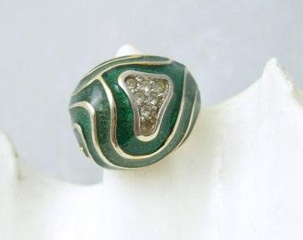 Vintage Rhinestone Enamel Dome Ring Green Mod Jewelry Size 5 R6563