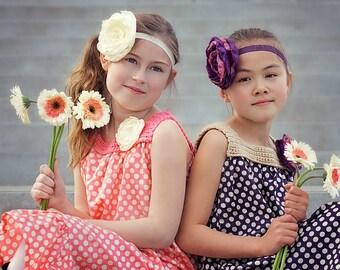 Crochet Maxi Dress, bohemian dress, polka dot dress, infant dress, toddler dress, Summer dress, cruise, BOHO, Sizes Newborn through 7/8Y