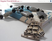 SALE She Walked the Plank with Grace and Poise necklace -pirate ship brooch, onyx, chalcedony, quartz.