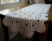 "Antique Crocheted Lace, Antique Crocheted Table Runner, Crochet Table Runner, 58"" x 14"", Antique Table Runner"