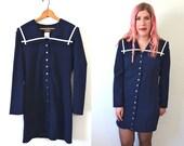 20 DOLLAR SUPER SALE! Womens Navy Dress - Womens Sailor Dress - Long Sleeve Dress