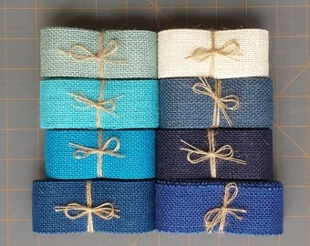 1.5 inch Blue Burlap Ribbon - 3 yards