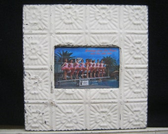 AUTHENTIC Tin Ceiling 4 x 6 Antique White Picture Frame Reclaimed Photo S2155-14