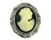 40x30mm Resin Female Portrait Cameo and Sterling Silver Plated Setting - Cream on Black
