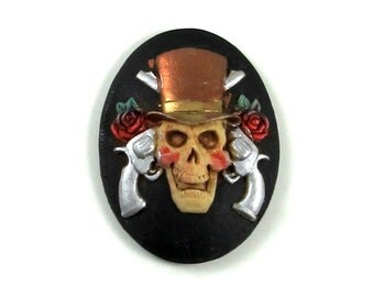 Gothic Skull Cameo - 1 Piece - Hand Painted in Metallic Silver, Copper and Black with Top Hat, Guns and Roses - 40x30mm