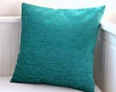 blue teal cushion cover, accent pillow cover 16 inch