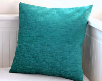 blue teal cushion cover, accent pillow cover 16 x 16 inch