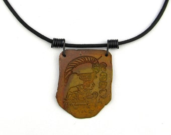Copper Zapotec Necklace with Coiled Black Steel Bail