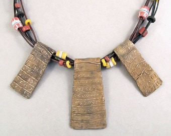 Bronze Necklace with African Beads