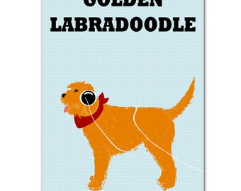 Golden Labradoodle Dog Print  Dog lover illustration pet animal Labradoodle art
