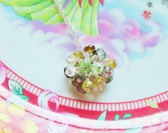 Gorgeous Green Gemstone Pom Pom Cluster Necklace on Fine Sterling Silver Chain / Tourmaline / Peridot / Smoky Topaz / Aquamarine / Quartz