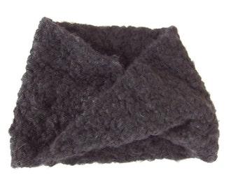 Black Infinity Scarf - Hand Crocheted Black Loop Scarf for Man or Woman