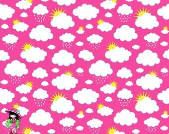 Pink clouds 1/2 yard knit cotton lycra