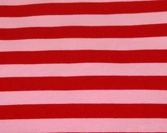 "Pink red 1/2"" stripes 1 yard cotton lycra knit"