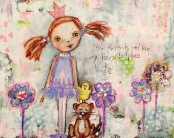 Original art fine art mixed media painting friend friendship notecards princess encouragement birthday bridal gift