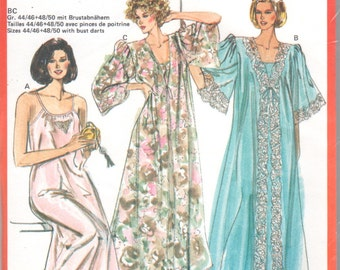 Burda 5191 Misses Lingerie Pattern Ankle Length Nightgown Negligee and Peignoir Robe Pattern Womens Sewing Pattern Size 10 - 24 UNCUT
