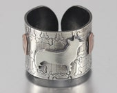 Custom Dog Breed Silhouette Adjustable Wide Ring Band - Personalized Keepsake