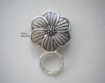 Magnetic or Pin ID Badge Holder or Eyeglass Reading /Sun Glasses  Holder  Silver Metal SMF7  Extra Magnet Applied