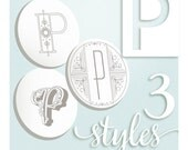 Modern Monograms Letter P hand embroidery patterns in three styles Alphabet Letter embroidery designs by SeptemberHouse