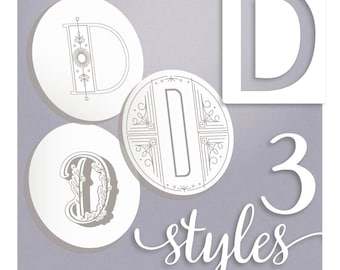 Modern Monograms Letter D hand embroidery patterns in three styles Alphabet Letter embroidery designs by SeptemberHouse