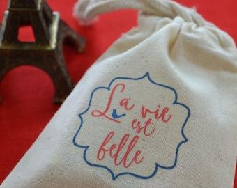 Set of Six La Vie est Belle French Favor or Gift Bags