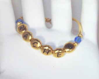 Newborn Name & Birthstone Bracelet - Gold or Silver - Child, Toddler, Baby Bracelet, Keepsake