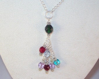 Swarovski Crystal Grandmother's Necklace - Custom Order Pattern for 2 or 3 Generations - 10 or More Birthstones
