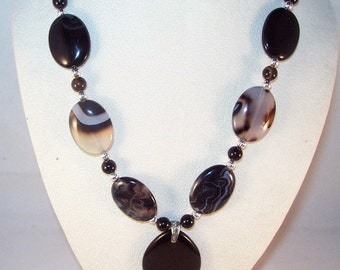 Banded Black Agate and Black Onyx Necklace