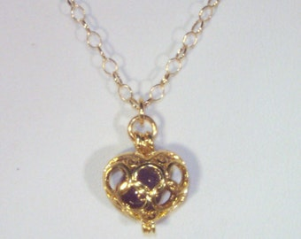 Gemstone & Gold Filled Jewelry - Gold Plated Heart Cage with Choice of Gemstones - Garnet, Amethyst or Aquamarine - Gold Filled Chain