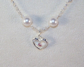 Swarovski Pearls Jewelry - Heart Necklace - Bride, Bridesmaid, Maid of Honor