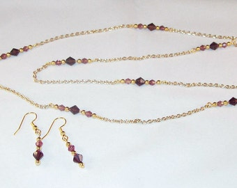 Swarovski Crystal Jewelry - Amethyst Necklace and Earring Set - Available in All Swarovski Colors