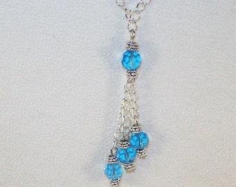 Birthstone Lariat Necklace - March / Aquamarine